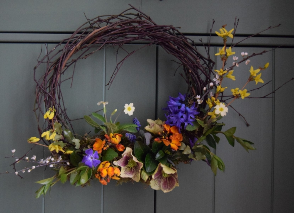 Natural Spring funeral wreath